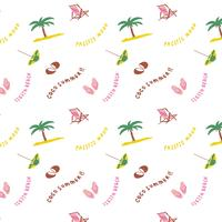 Hand drawn summer beach pattern