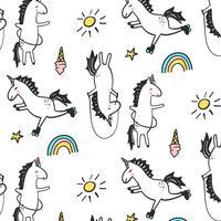 Patrón de línea dibujada a mano de unicornios jugando