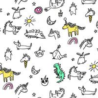 Hand drawn line cartoon party animals pattern vector