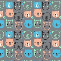Hand drawn abstract cartoon bear faces pattern