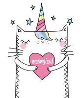 Illustrazione di unicorno gatto carino disegnato a mano