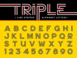 Triple Line  Alphabet Letters and numbers vector