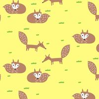 Hand drawn fox pattern on yellow background  vector