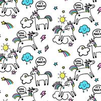 Hand drawn cartoon unicorns with word bubbles pattern background