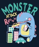 Hand drawn cute monster attack illustration