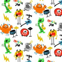 Hand drawn colorful monsters music pattern background