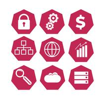set of red technology icons vector