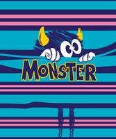 Hand drawn cute doodle monster in stripes illustration