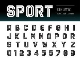 Athletic Alphabet Letters and numbers vector