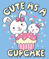 Hand drawn cute rabbits with cupcake illustration