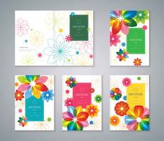 Conjunto de tarjeta de invitación de flores vector