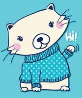 Handritad gullig katt som vinkar Hej illustration