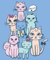 Dessinés à la main ensemble mignon d'illustration de chats