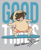 Hand drawn cute dog surfboarding illustration
