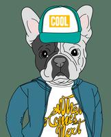 Hand drawn cool dog wearing hat and shirt with text illustration vector