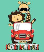 Handritad gullig giraff och lejon i bilillustration