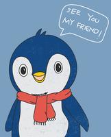 Pingouin mignon dessiné à la main portant une écharpe