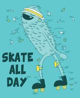 Monstre cool dessiné main sur illustration de patins à roulettes