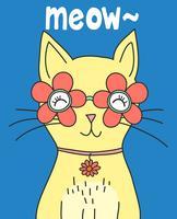 Gatto sveglio disegnato a mano con l'illustrazione di vetro del fiore