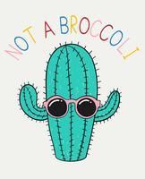 Hand drawn cute cactus wearing sunglasses illustration