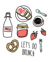 Hand drawn cute brunch food set illustration vector