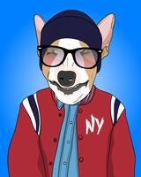 Hand drawn cool dog wearing jacket and beanie illustration