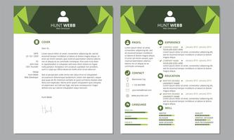 CV Resume Cover Clean Header Green Color