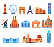 Europe landmark places vector