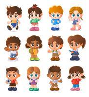 Conjunto de niños, diseño de personajes