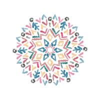 Abstract hand drawn mandala pattern with watercolor brush.