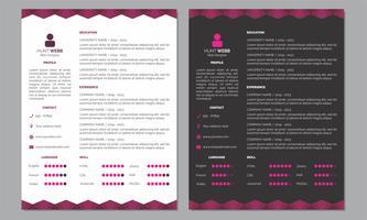 Curriculum Vitae Resume Cover Pink Clean Dark Header Footer