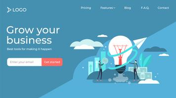 Business idea flat tiny persons  landing page template design