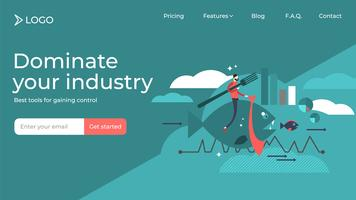 Dominate your industry flat sales landing page template design