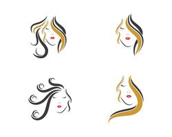 woman hair icon set