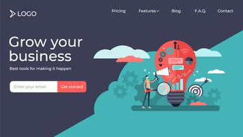 Marketing flat tiny persons  landing page template design