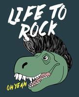 Dinosaure dessiné à la main avec illustration de coiffure
