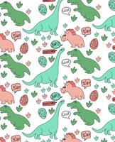 Hand drawn cute dinosaur pattern design vector
