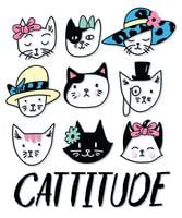 Hand drawn cute set of cat heads with Cattitude text illustration