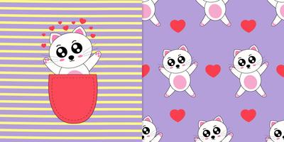 Cartoon cat and seamless pattern cute hand drawn style