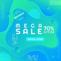 Modern sale poster mega sale Memphis style space for your text