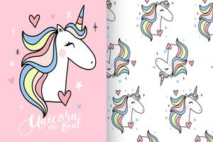 Unicorns Are Real Hand Drawn Unicorn Pattern