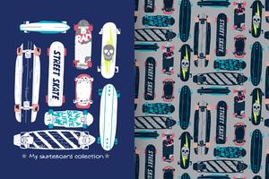 skateboard with pattern set vector