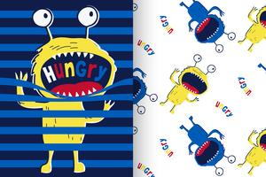 hungry monster with pattern set