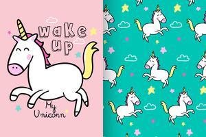 sveglia il mio unicorno disegnato a mano un insieme di modelli di unicorno vettore