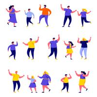 Set of flat people dancing parents with kids characters