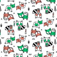 Hand drawn raccoon, fox, bear pattern  vector