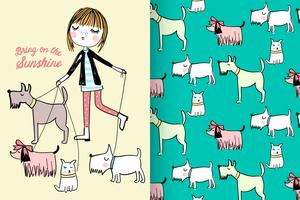 Walking Dogs with pattern set