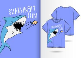 Hand drawn cute shark t-shirt design
