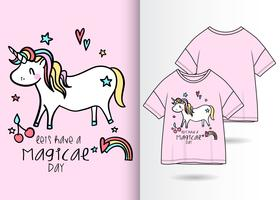 Hand drawn cute unicorn t-shirt design