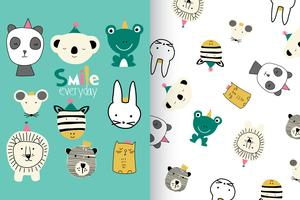 Hand drawn cute animal with pattern set vector